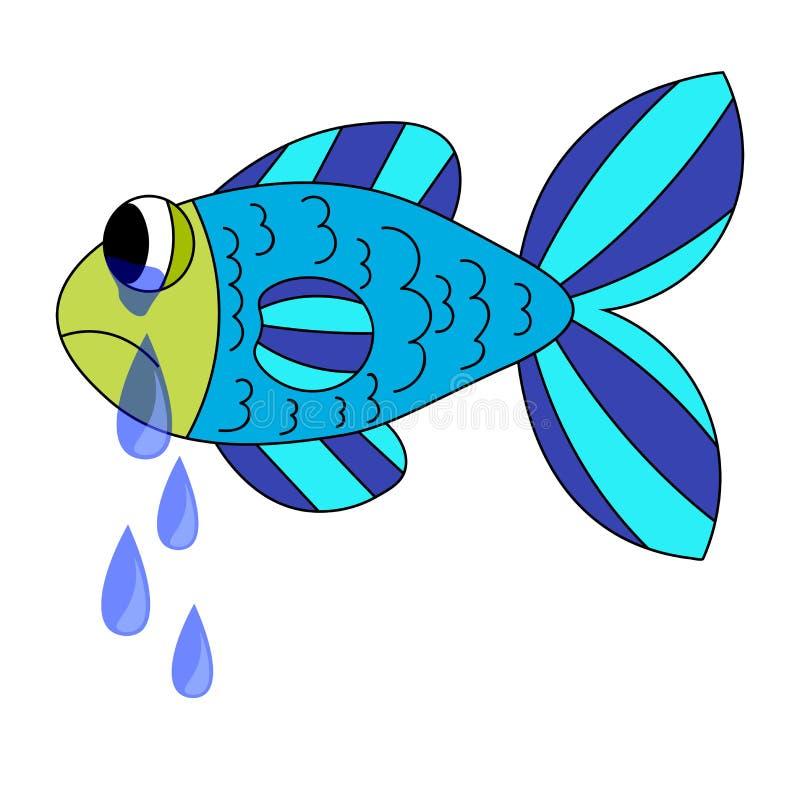 P?acz kresk?wki ryba Opuszczać łzy od ryb oczu Smutna błękitna i zielona ryba odizolowywająca na bielu ilustracji