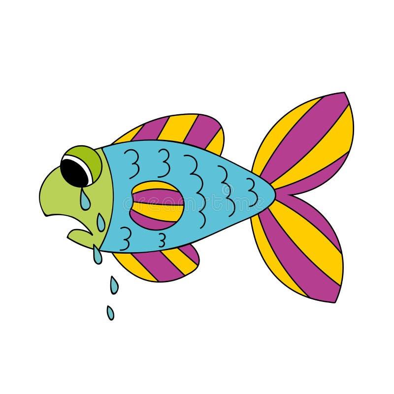 P?acz kresk?wki ryba Opuszczać łzy od ryb oczu Smutna ręka rysuję błękitny i fiołek, kolor żółty, zieleni ryba odizolowywająca na ilustracji