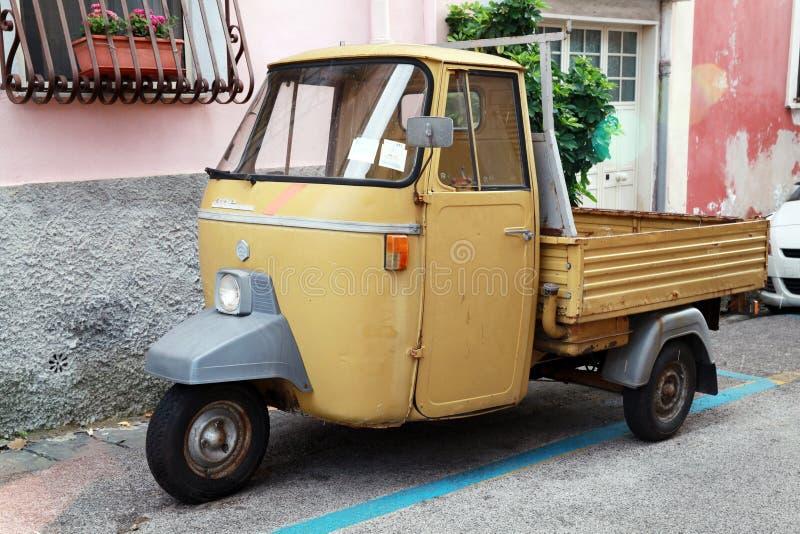 P 501 Ape Car is a three-wheeled light commercial vehicle. Gaeta, Italy - August 21, 2015: P 501 Ape Car is a three-wheeled light commercial vehicle produced stock photos