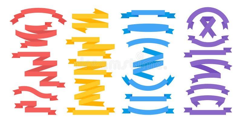 P?ascy faborki Kolorowi sztandarów elementy i dividers dla teksta, rocznik flagi projektują szablon Wektorowy tasiemkowy emblemat ilustracji