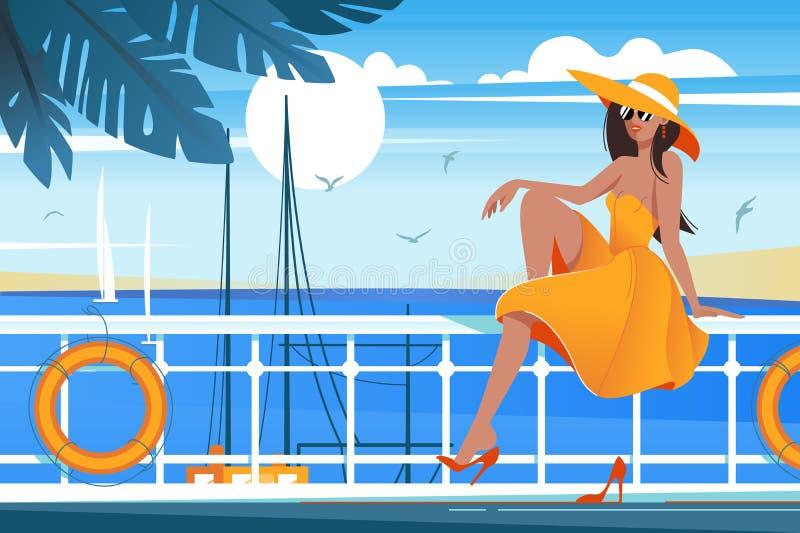 P?aska m?oda pi?kno dziewczyna na nabrze?u blisko morza, ?agl?wka ilustracji