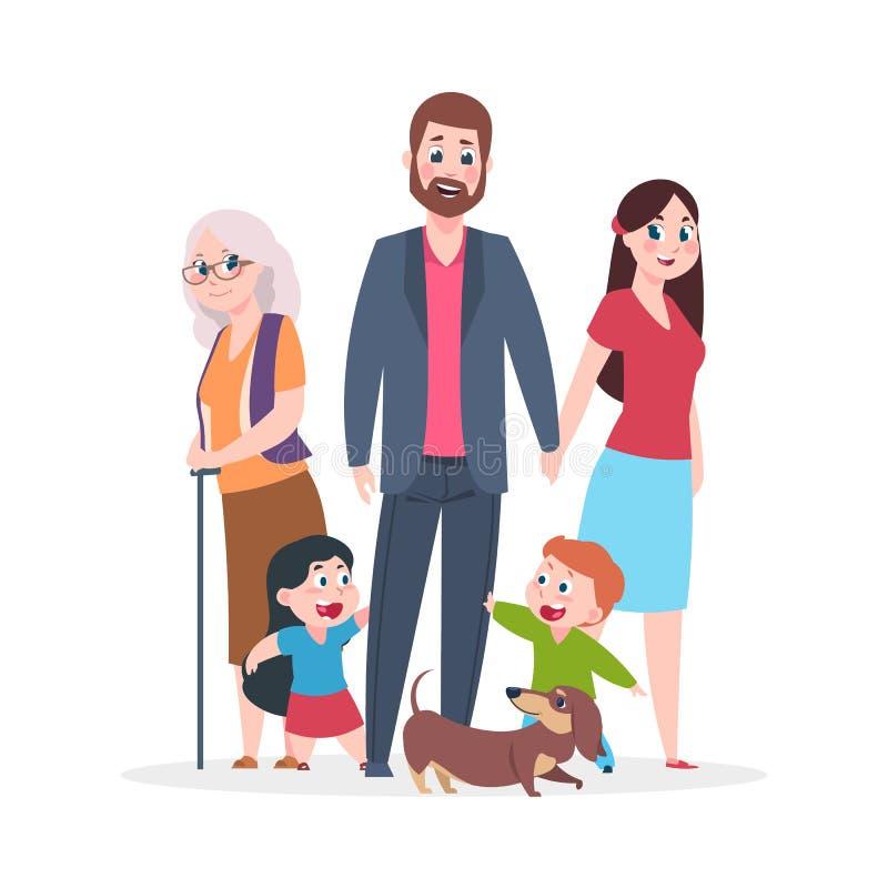 P?aska rodzina Szcz??liwi przytulenie charakter?w stoi wp?lnie, grupa dzieciaki i rodzic?w dziadkowie ludzie, Wektorowa kresk?wka ilustracja wektor