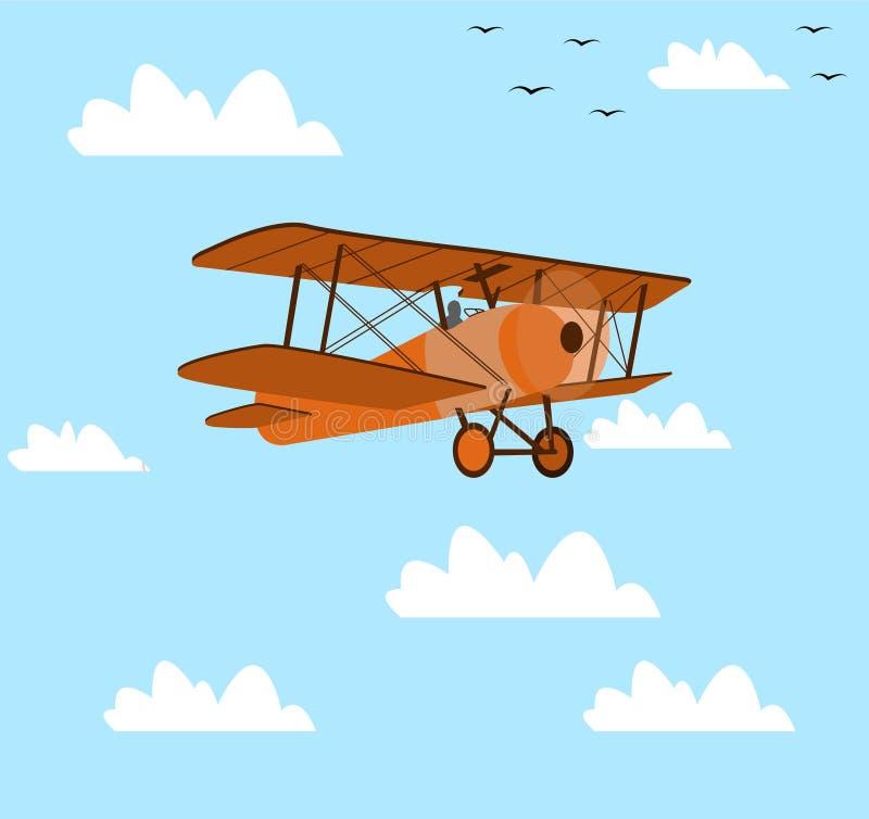 Download Płaski latanie w nieba tle ilustracja wektor. Ilustracja złożonej z pojazd - 53775690