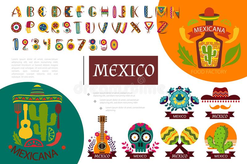 P?aski Meksyk element?w sk?ad royalty ilustracja