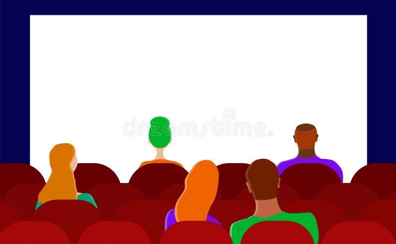 P?aski wektor widownia w kinie ludzie nieba niebieskie t?o szcz??liwe rodzinne kobiet royalty ilustracja