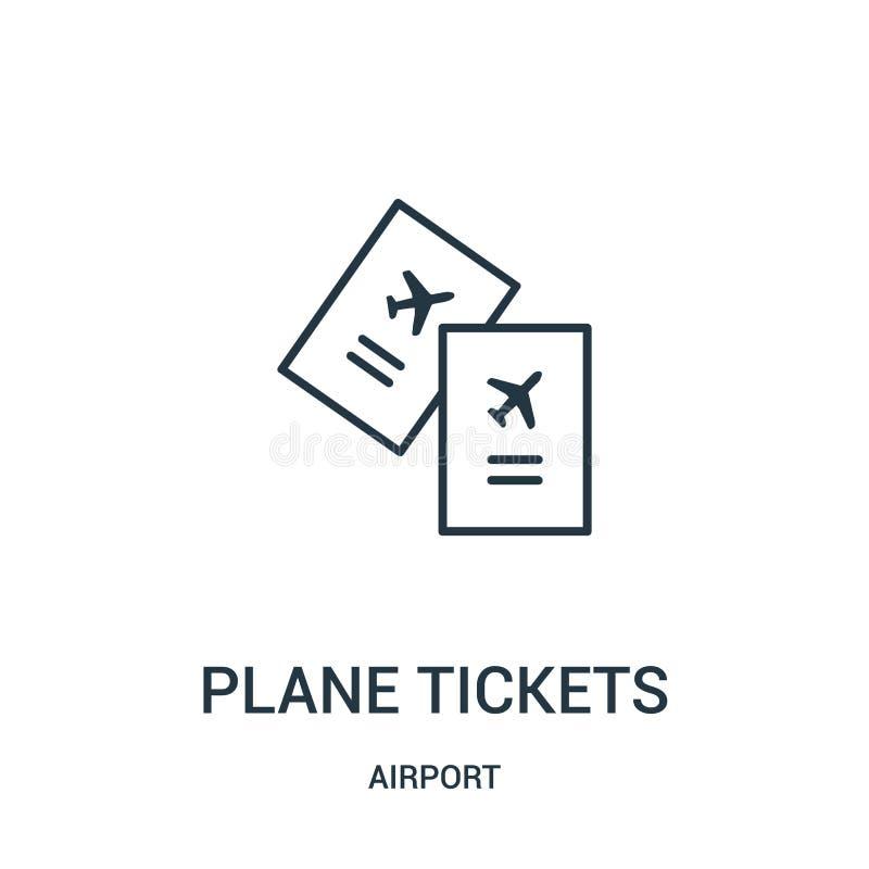 p?askich bilet?w ikony wektor od lotniskowej kolekcji Ciency kreskowi p?ascy bilety zarysowywaj? ikona wektoru ilustracj? royalty ilustracja