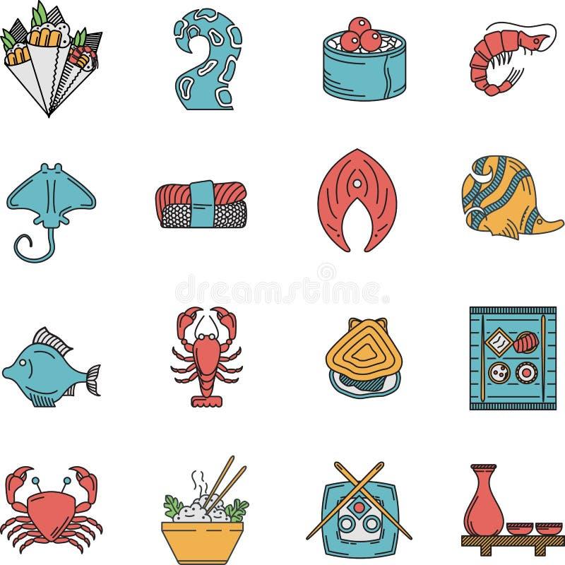 Download Płaskie Ikony Dla Owoce Morza Menu Ilustracji - Ilustracja złożonej z krab, przygotowany: 53792678