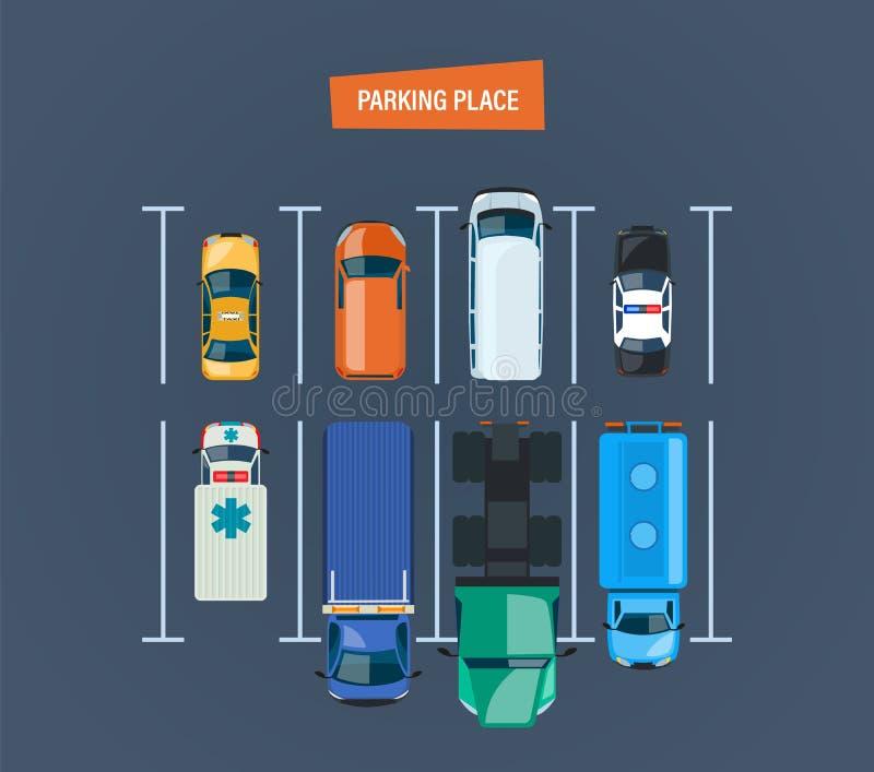 P Bästa sikt av parkeringsplatsen Olika typbilar stock illustrationer