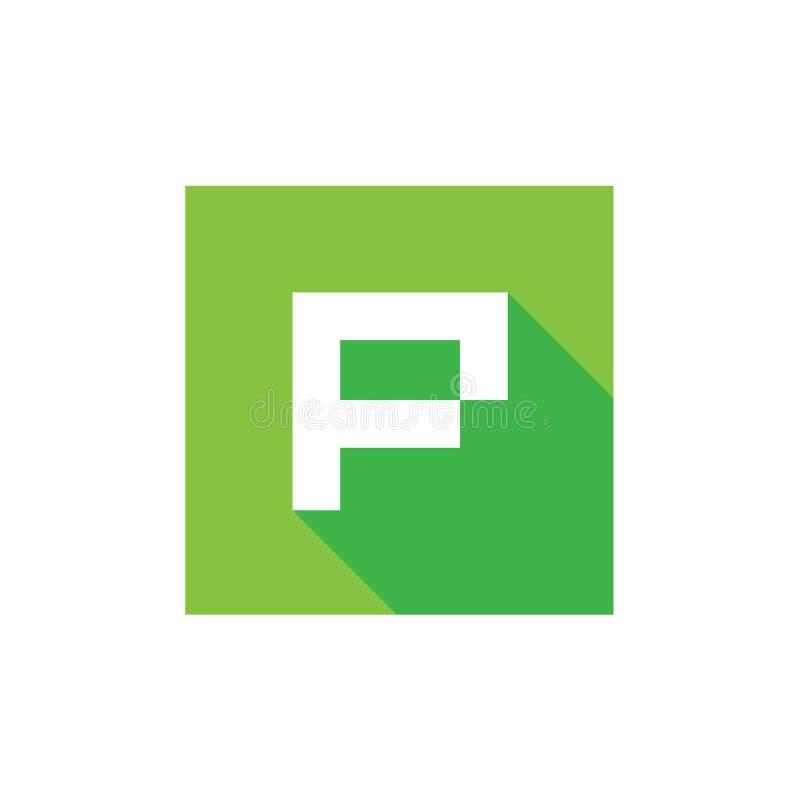 P-bokstavslogo, med gräsplanfyrkanten Shape, PIXEL Art Style, fyrkantig stilsymbolsdesign stock illustrationer