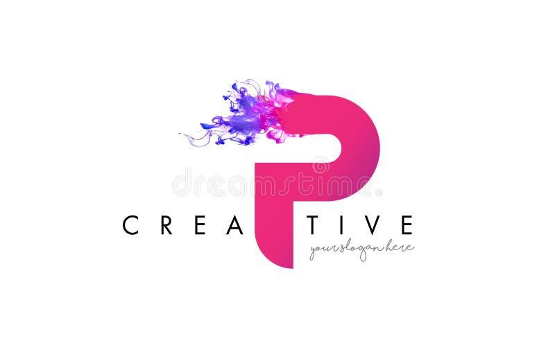 P Brief Logo Design met de Stromende Textuur van de Inktwolk vector illustratie