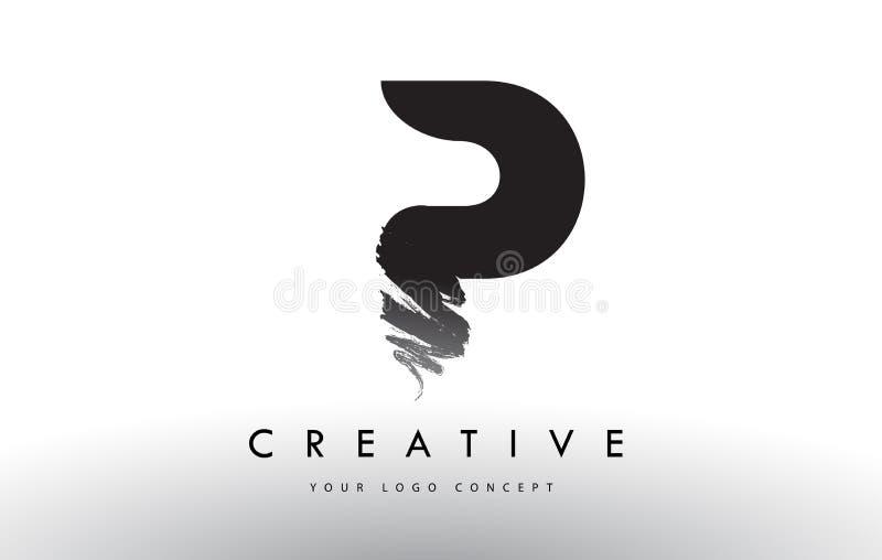 Download P Brushed Letter Logo Black Brush Letters Design With Str Stock Vector