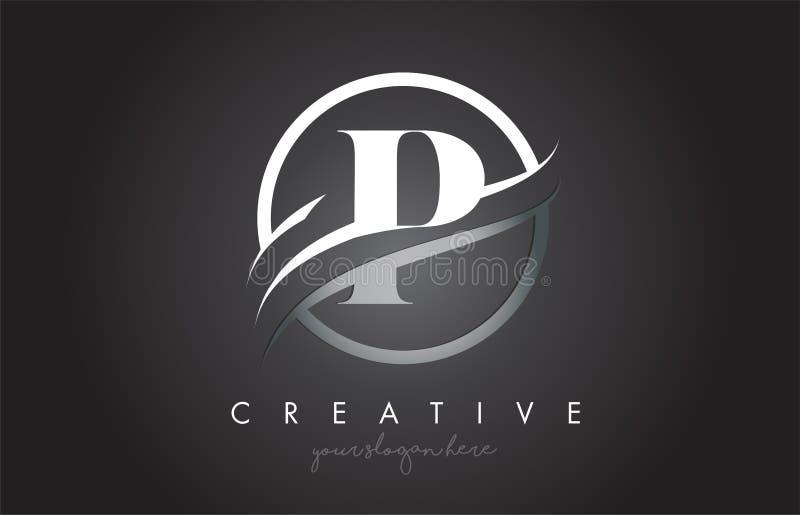 P-Buchstabe Logo Design mit Kreis Stahlswoosh-Grenze und kreativem Ikonen-Entwurf stock abbildung