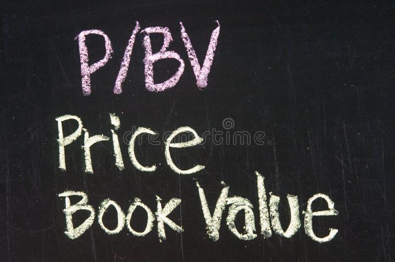 P/BV ceny Książkowa wartość obraz stock