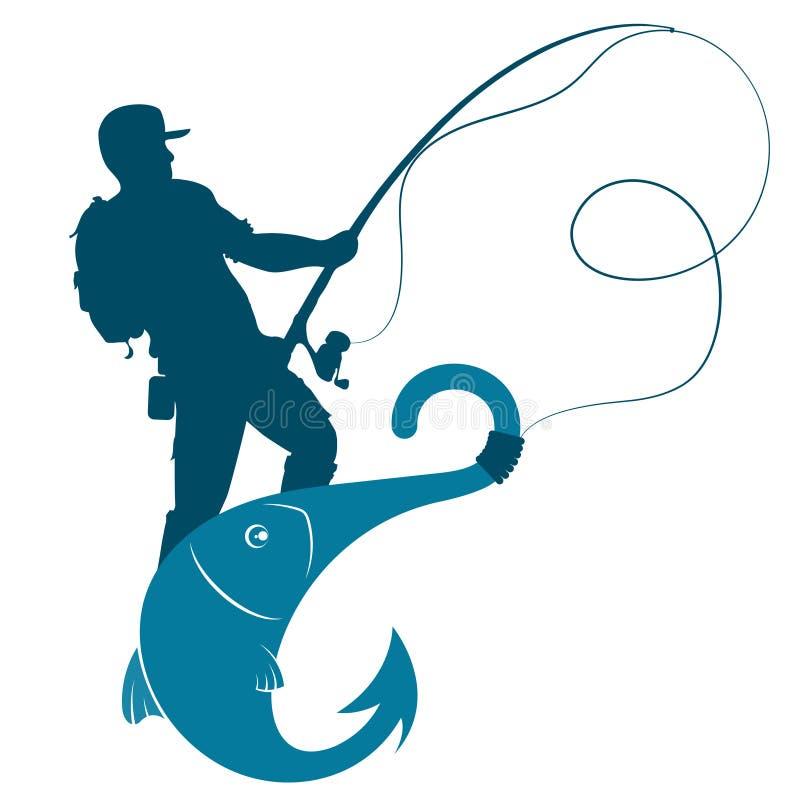 P?cheur et poissons sur le crochet illustration de vecteur