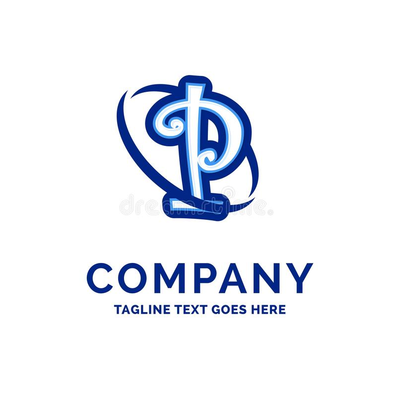 P Company公司名称设计蓝色商标设计 皇族释放例证