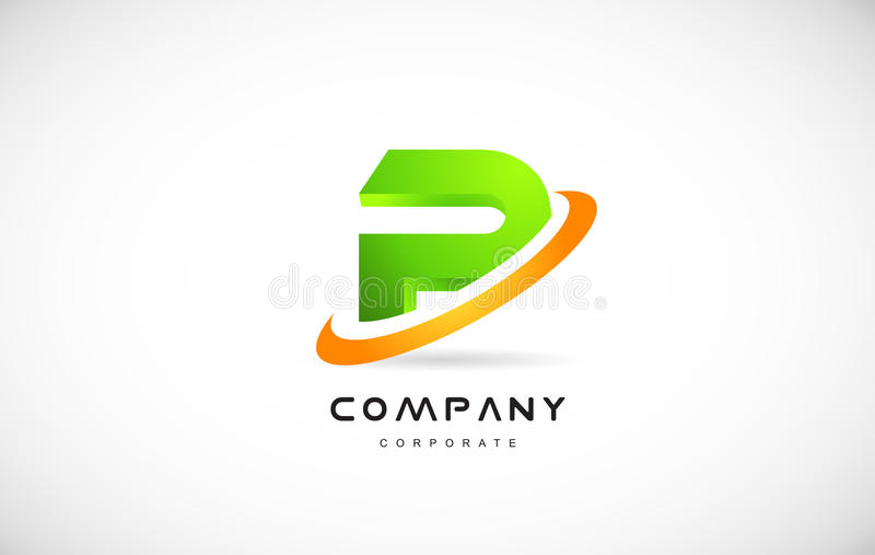 P Green 3d Letter Technology Media Alphabet Vector Company Logo Icon Sign Design Template
