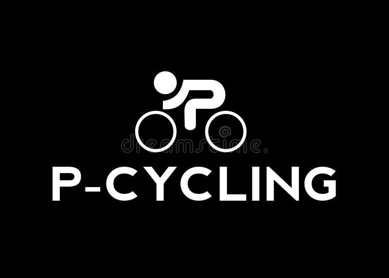 P-cykla bakgrund för svart för vektorlogomall royaltyfri illustrationer