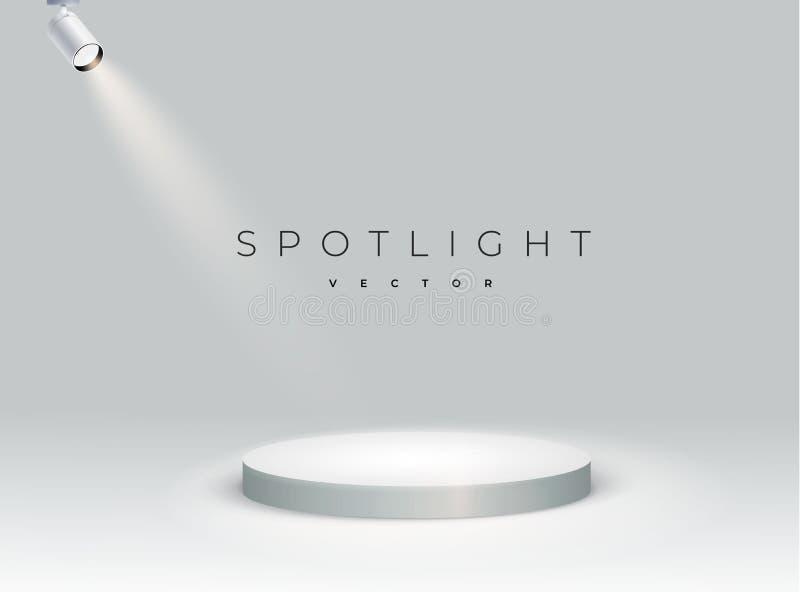 P?dio redondo branco projetores realísticos com fase de brilho clara branca brilhante suporte cena Projetor iluminado do formul?r ilustração stock