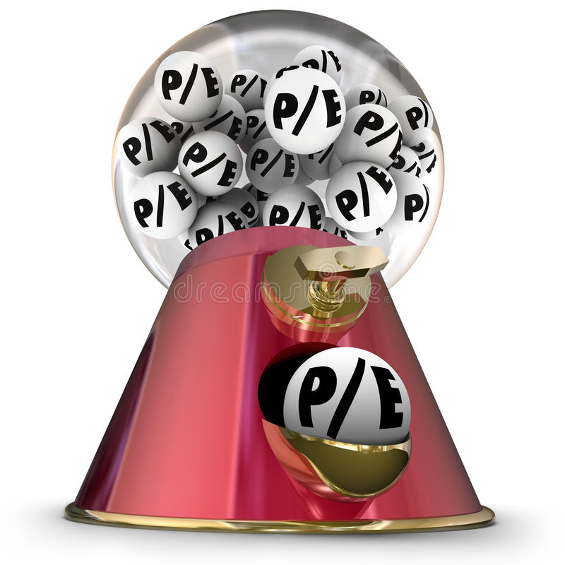 P/E Price to Earnings Ratio Equity Value Multiple Stock Market C. P/E letters on gumballs in a machine or dispenser to illustrate picking a company or business stock illustration