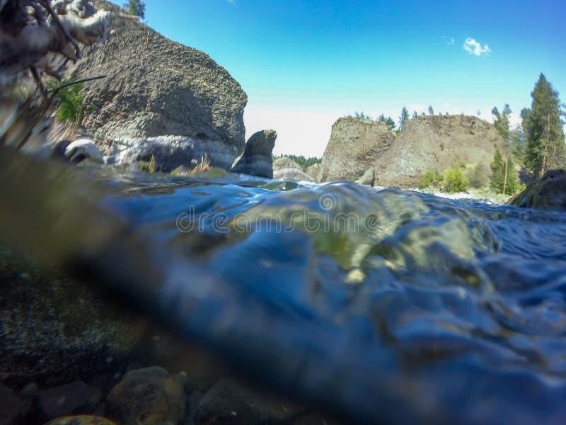 P? flodstrandbunke- och kannadelstatsparken i spokane washington fotografering för bildbyråer