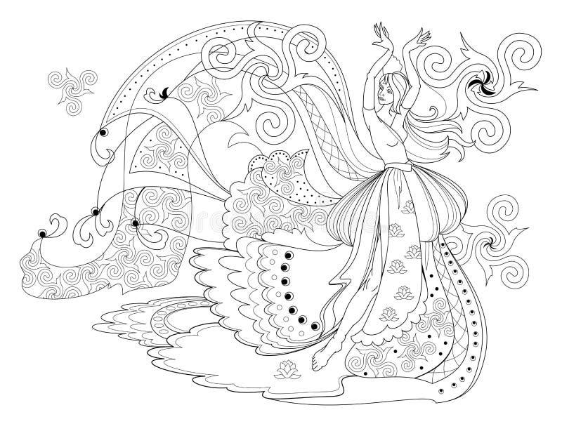 P?gina blanco y negro para el libro de colorear Dibujo de la fantasía de bailar a la muchacha céltica en vestido hermoso ilustración del vector