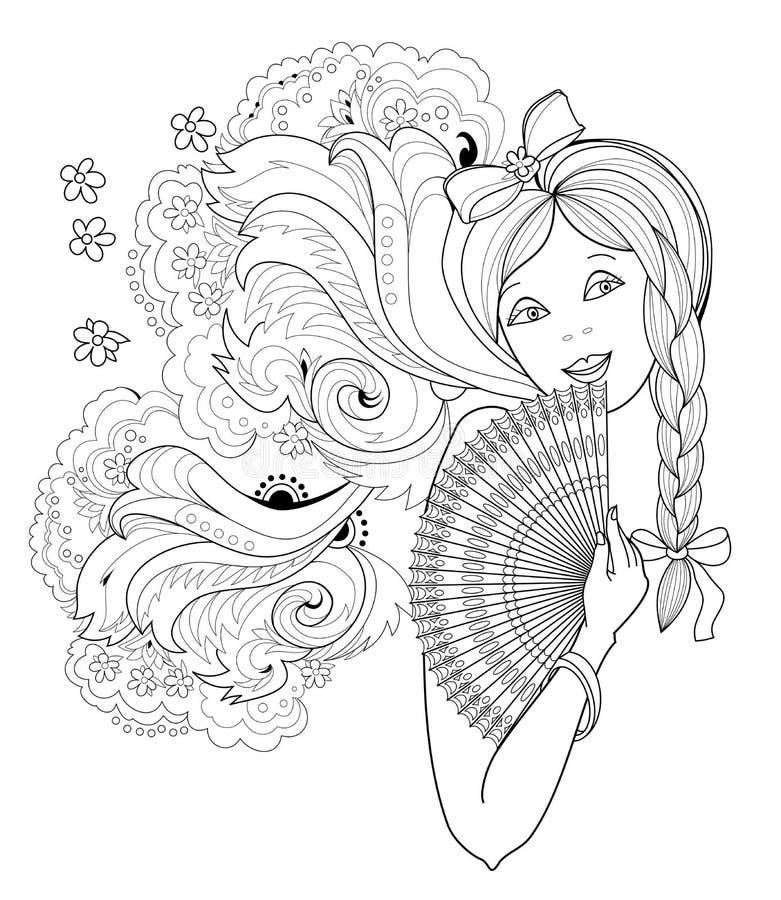 P?gina blanco y negro para el libro de colorear Dibujo de la fantasía de la muchacha hermosa con la fan Retrato de la mujer con e stock de ilustración