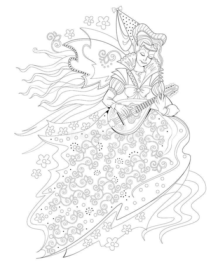 P?gina blanco y negro para el libro de colorear Dibujo de la fantasía de la princesa gótica hermosa que juega música en la mandol stock de ilustración