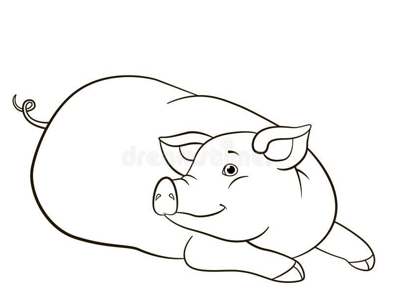 P?gina da colora??o Configurações bonitos e sorrisos do porco ilustração do vetor