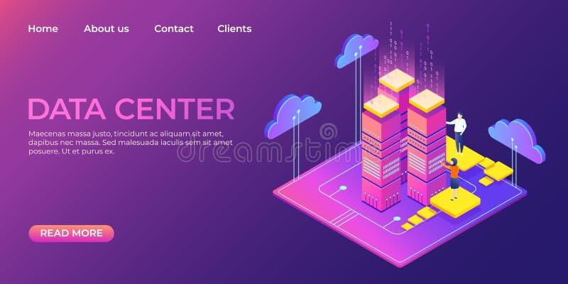 P?gina de aterrizaje del centro de datos Plantilla isométrica de la página web de la base de datos de la información Concepto de  stock de ilustración