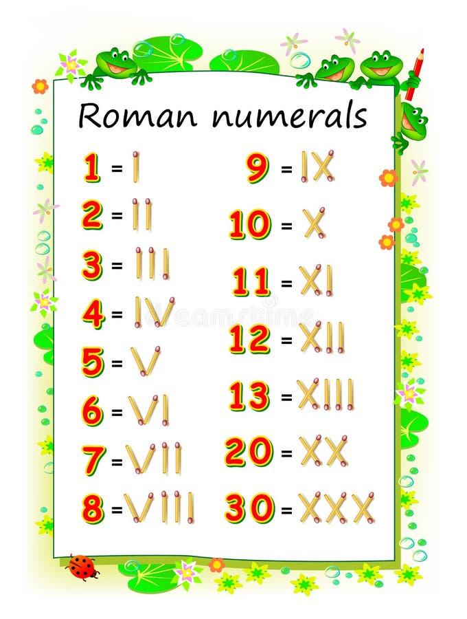P?gina educacional para que as crian?as estudem os numerais romanos Folha imprim?vel para o livro de texto das crian?as Habilidad ilustração royalty free