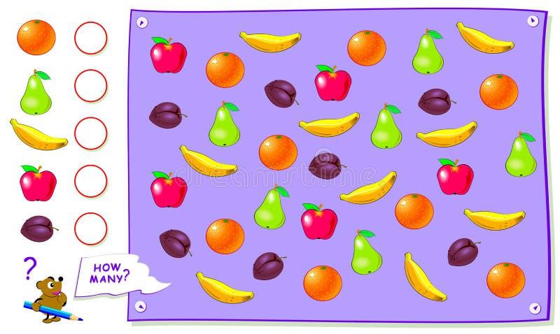 P?gina educativa imprimible para los ni?os Cuente la cantidad de frutas y escriba los números en círculos Hoja de trabajo para el stock de ilustración