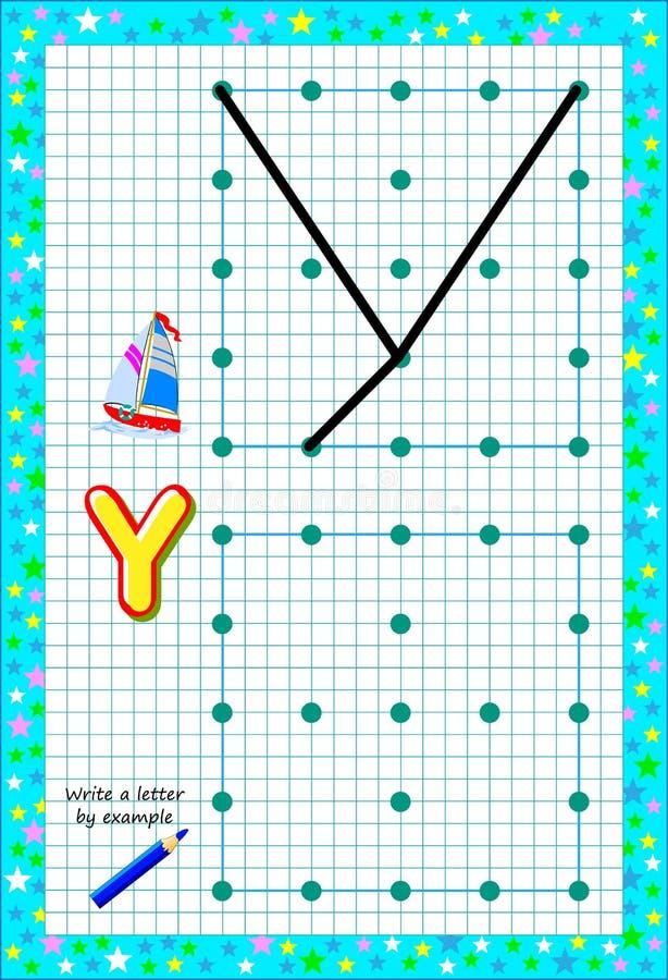 P?gina educativa para pocos ni?os en el papel cuadrado Escriba la letra por ejemplo Juego del rompecabezas de la l?gica ilustración del vector