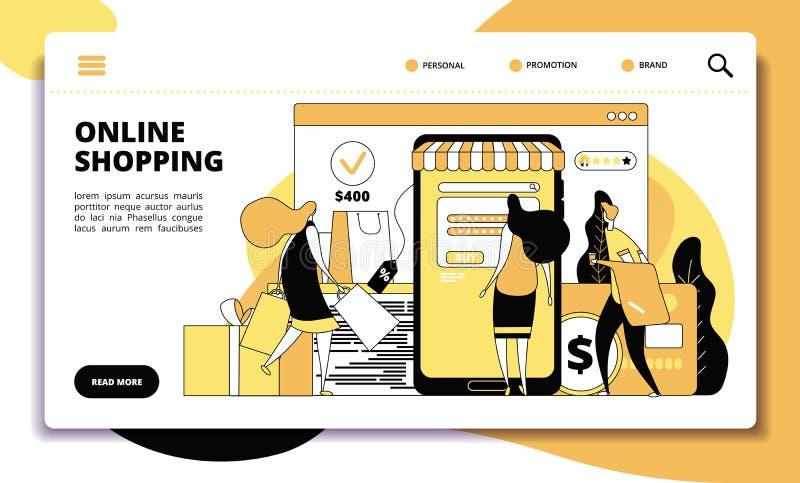 P?gina en l?nea del aterrizaje de las compras. . website stock de ilustración