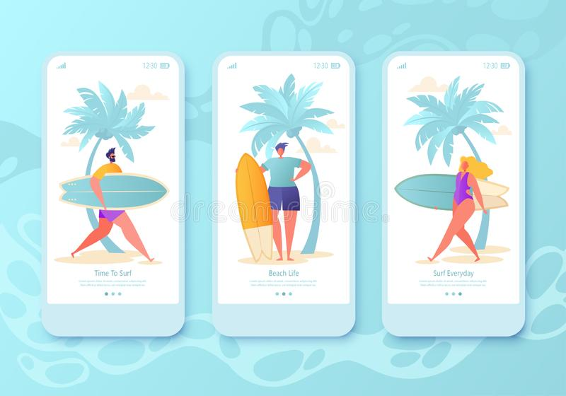 P?gina m?vil del app, sistema de la pantalla Concepto para la página web con las personas que practica surf felices planas ilustración del vector
