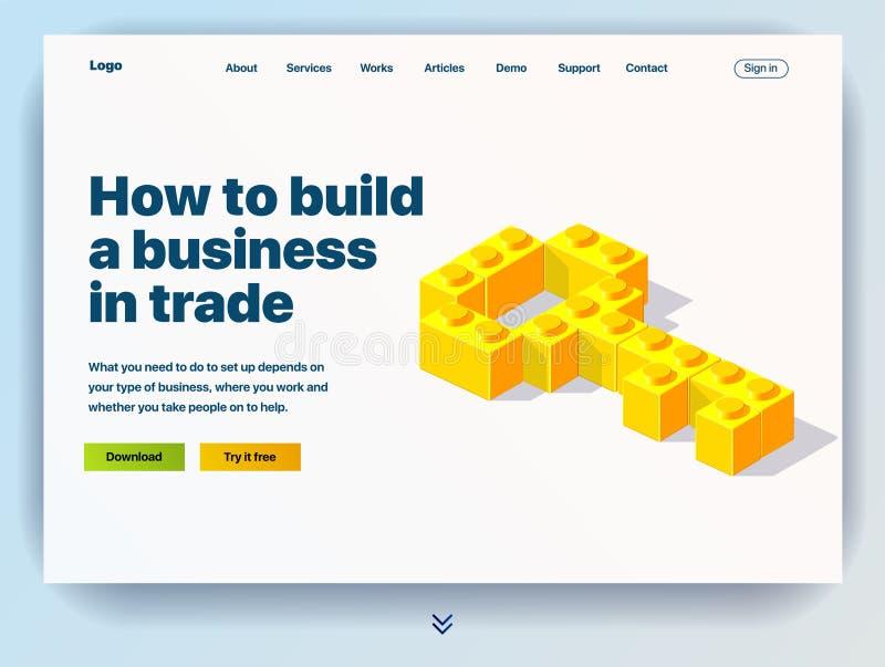 P?gina web que proporciona el servicio de c?mo construir un negocio en comercio ilustración del vector