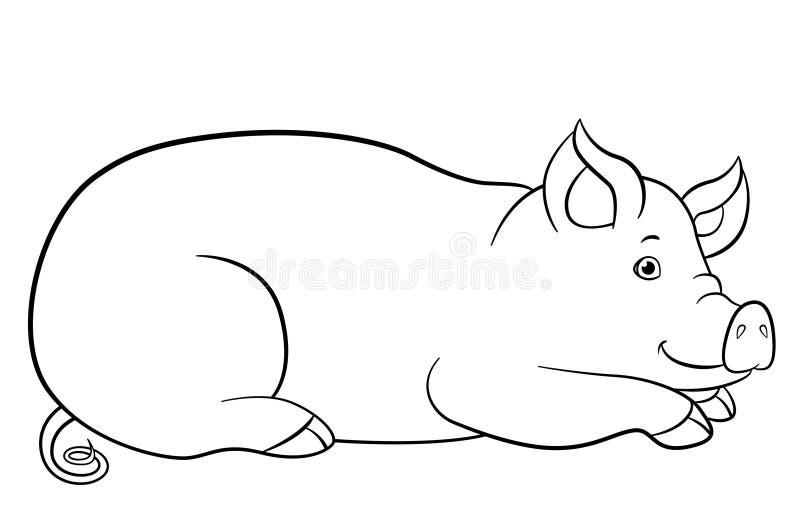P?ginas da colora??o Configurações bonitos e sorrisos do porco ilustração royalty free