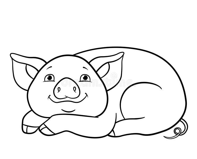 P?ginas da colora??o Pouco configurações bonitos e sorrisos do porco ilustração stock