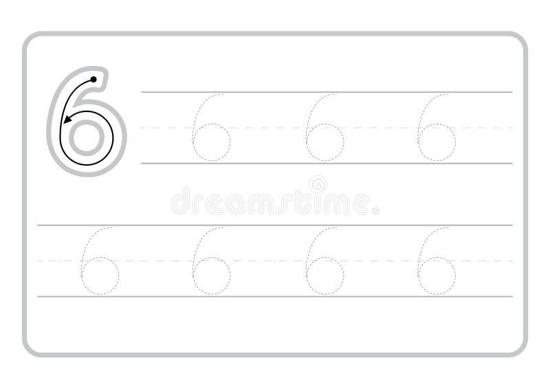 P?ginas libres de la escritura para escribir los n?meros que aprenden los n?meros, n?meros que remontan la hoja de trabajo para l libre illustration