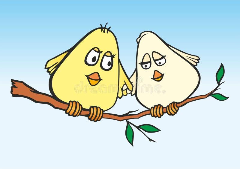 P?jaros cari?osos Pájaros lindos del ejemplo en amor Tarjeta elegante para el d?a de San Valent?n Casarse diseño de la invitación stock de ilustración