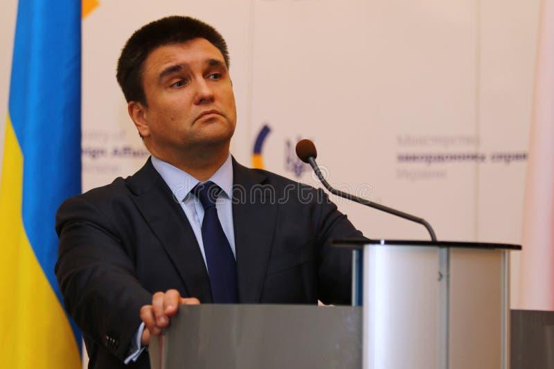 P.Klimkin, B.Johnson and W.Waszczykowski press conference in Kiev stock image