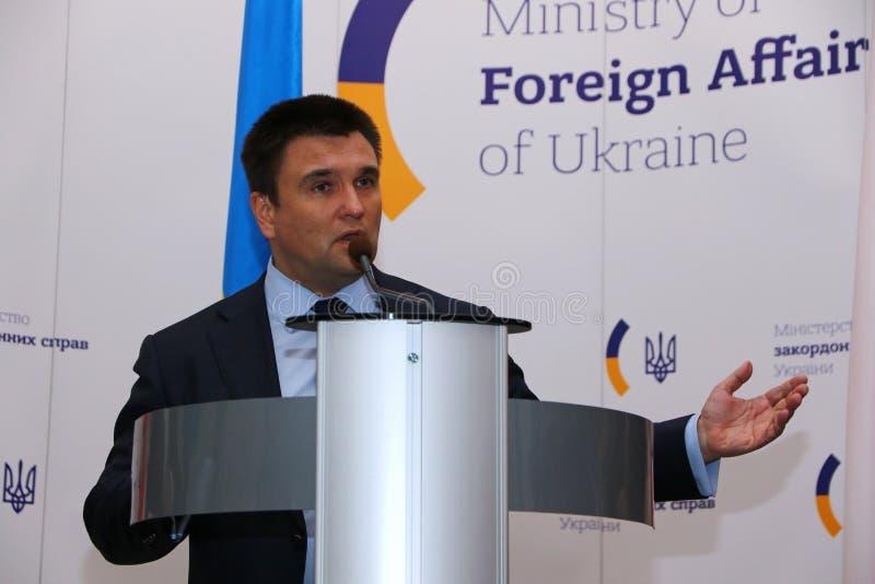 P.Klimkin, B.Johnson and W.Waszczykowski press conference in Kiev royalty free stock images
