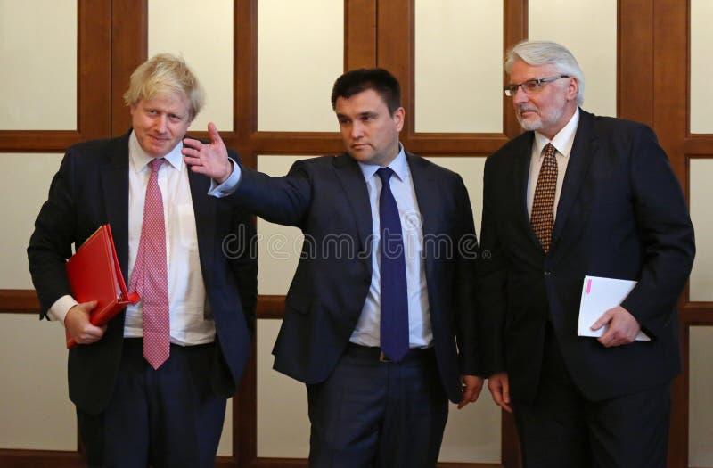 P.Klimkin, B.Johnson and W.Waszczykowski press conference in Kiev stock photos