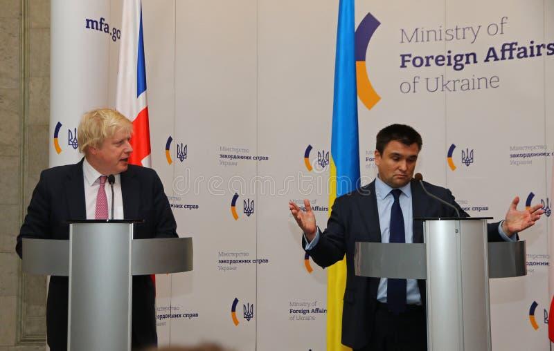 P.Klimkin, B.Johnson and W.Waszczykowski press conference in Kiev stock images