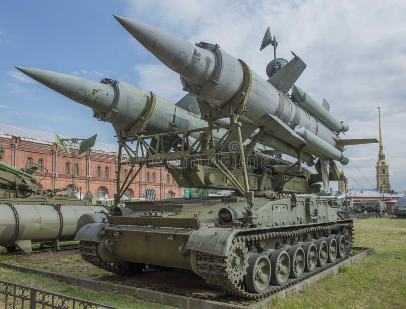 2P24-Launcher (rocket 3M8) anti-aircraft missile complex 2K11. RUSSIA; SAINT-PETERSBURG - JULY 8- 2P24-Launcher (rocket 3M8) anti-aircraft missile complex 2K11 stock photo