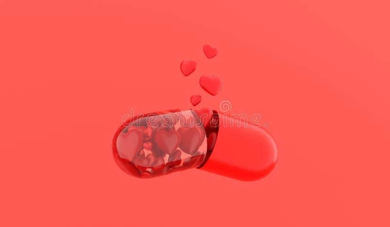 P?ldora del amor Tableta del amor ?apsule con los corazones se disuelve en fondo rojo representaci?n 3d imágenes de archivo libres de regalías