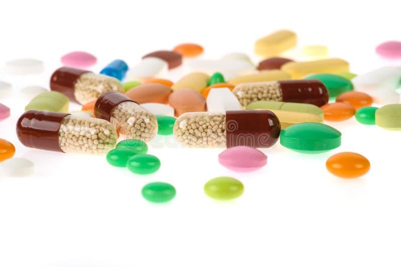 P?ldoras, tabletas y c?psulas farmac?uticas clasificadas de la medicina Fondo de las p?ldoras fotos de archivo
