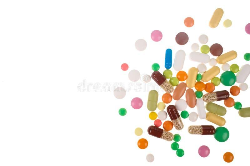 P?ldoras, tabletas y c?psulas farmac?uticas clasificadas de la medicina Fondo de las p?ldoras fotografía de archivo