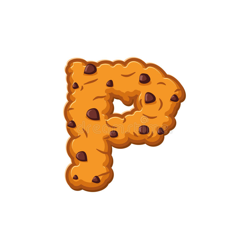 P letter cookies. Cookie font. Oatmeal biscuit alphabet symbol. Food sign ABC royalty free illustration