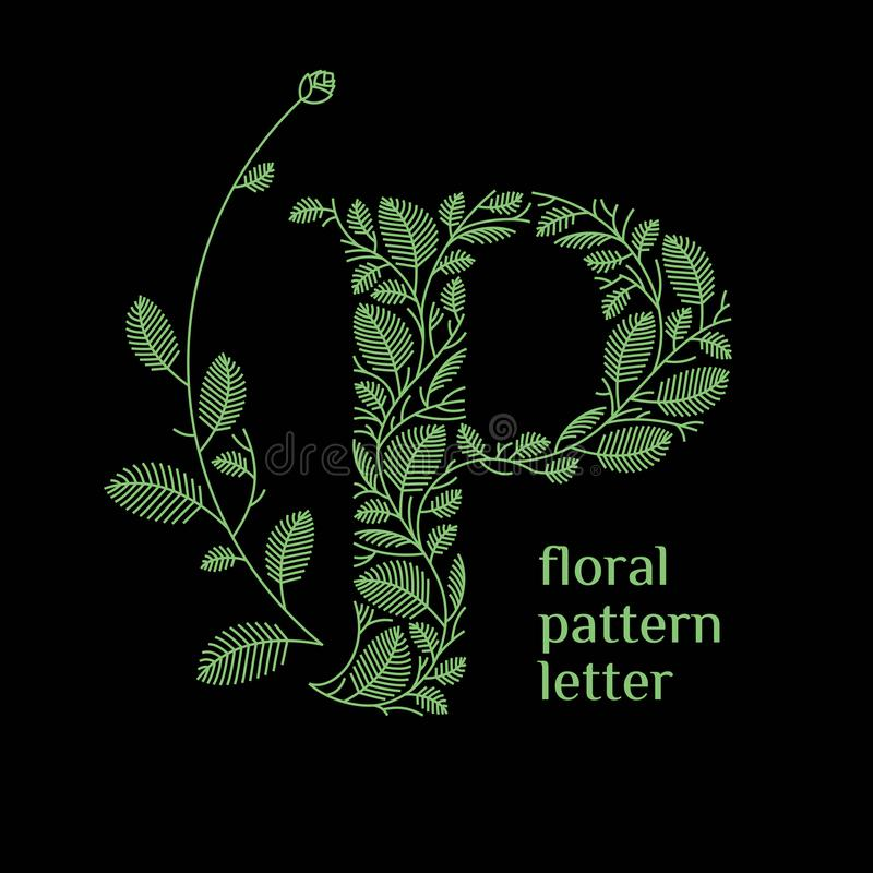 P letter eco logo isolated on black background. Organic bio logo from green grass leaves, plants for corporate identity. Of the company or brand on the letter P royalty free illustration