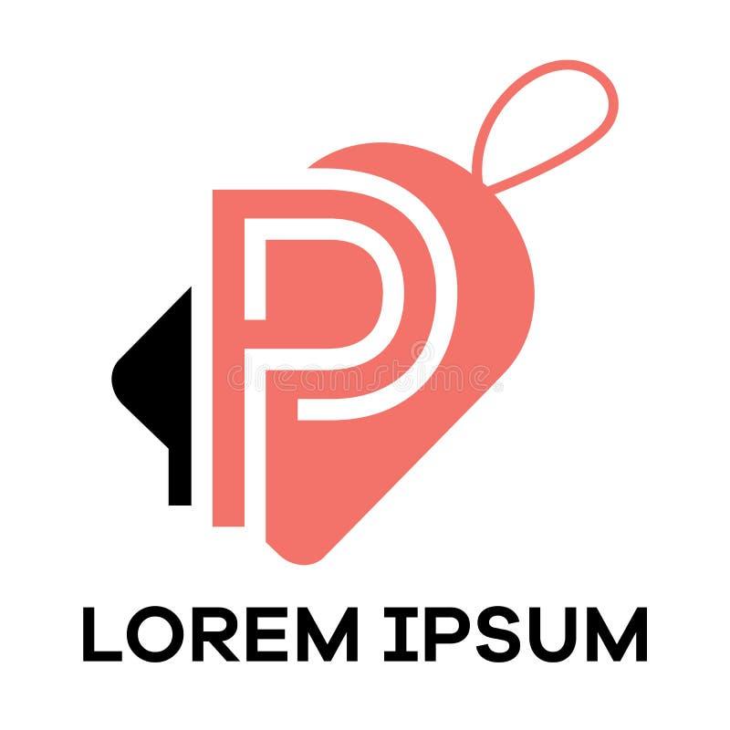 P letter logo design. Letter p in sale/discount tag vector illustration. P letter logo design. Letter P in tag shape stock illustration